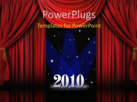 PowerPlugs: PowerPoint template with stars on blue background with red curtains on stage