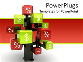 PowerPlugs: PowerPoint template with state of art conceptual 3D tree with green cubes and dollar sign and red cubes with percentage symbol
