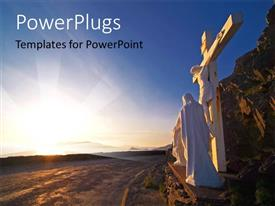 PowerPlugs: PowerPoint template with a statue and a big cross of Jesus Christ