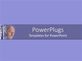 PowerPlugs: PowerPoint template with a statue with bluish background and place for text