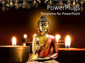 PowerPlugs: PowerPoint template with a statue of Buddha along with candles in the background