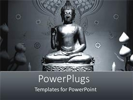 PowerPlugs: PowerPoint template with a statue of Buddha with grayish background