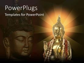 PowerPoint template displaying a statue of Buddha with light in the background