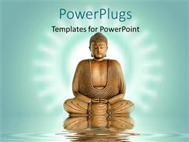 PowerPlugs: PowerPoint template with statue of Buddha meditating on water with ripples and glow in background