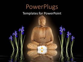 PowerPoint template displaying statue of Buddha in meditation with blue iris flowers on either side