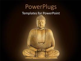 PowerPlugs: PowerPoint template with statue of Buddha in meditation over brown surface with dark edges