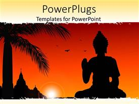 PowerPoint template displaying statue of buddha with sun set, birds flying,palm tree and temple in the background