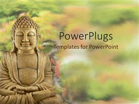 PowerPoint template displaying a statue of Buddha surrounded by plants with blurred background