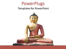 PowerPoint template displaying a statue of Buddha with white background and place for text