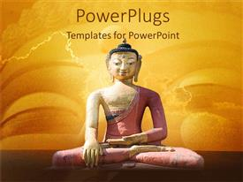 PowerPoint template displaying a statue of Buddha on a yellow colored background