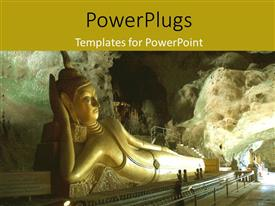 PowerPoint template displaying the statue of Budha with mountain in the background