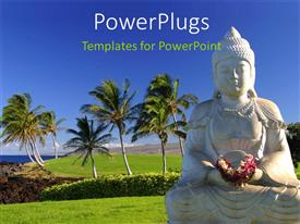 PowerPlugs: PowerPoint template with a statue of budha with a number of palm trees in the background