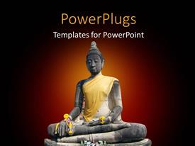 PowerPlugs: PowerPoint template with the statue of budha with a reddish background