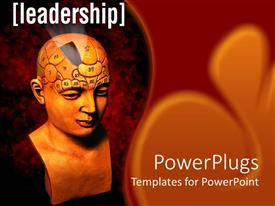 PowerPoint template displaying statue bust of human head for psychology evaluation of brain