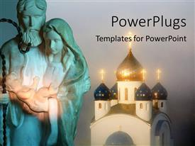 PowerPlugs: PowerPoint template with a statue of Father Joseph carrying Baby Jesus and a cathedral