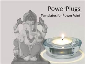 PowerPlugs: PowerPoint template with statue of Ganesha with candle, Hinduism, spirituality, world religion
