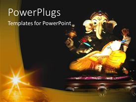 PowerPlugs: PowerPoint template with statue of Hindu elephant god Ganesha, religion, Hinduism