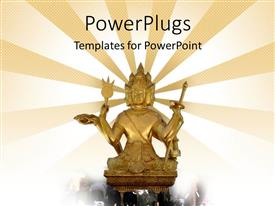 PowerPoint template displaying a statue of Hindu God with lights in the background