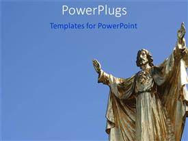 PowerPlugs: PowerPoint template with statue of Jesus Christ with both hands raised on blue background