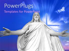PowerPlugs: PowerPoint template with a white huge statue of Jesus Christ with a cross
