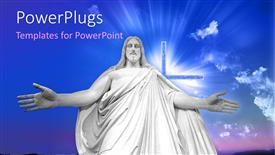 PowerPoint template displaying a white huge statue of Jesus Christ with a cross