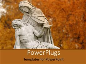 PowerPlugs: PowerPoint template with a statue of Jesus Christ and his mother holding him