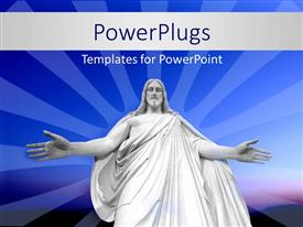 PowerPlugs: PowerPoint template with statue of Jesus Christ with outstretched hands over blue background