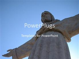 PowerPoint template displaying the statue of Jesus with clear sky