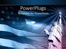 PowerPlugs: PowerPoint template with statue of liberty with american flag and sunset on blue background