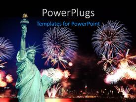 PowerPoint template displaying statue of Liberty in New york  and 4th of July fireworks