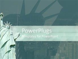 PowerPlugs: PowerPoint template with statue of Liberty with New York City in background, green banner