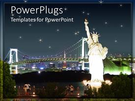 PowerPlugs: PowerPoint template with statue of Liberty at night with bridges and city skyline