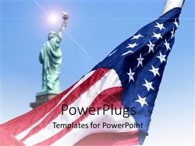 PowerPoint template displaying the Statue of Liberty and a rolled American flag