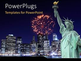 PowerPlugs: PowerPoint template with the statue of liberty with skyscrapers in the background