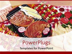 PowerPlugs: PowerPoint template with steak, corn, and kebabs on barbecue grill