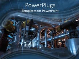 PowerPlugs: PowerPoint template with steam turbine at power plant with connected transmission pipes