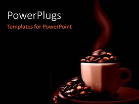 PowerPlugs: PowerPoint template with steaming coffee cup and saucer filled with coffee beans over black bbackground