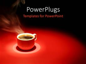 PowerPlugs: PowerPoint template with steaming coffee from red cup on red and black background