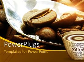 PowerPlugs: PowerPoint template with coffee beans in large spoon with steaming cup of coffee