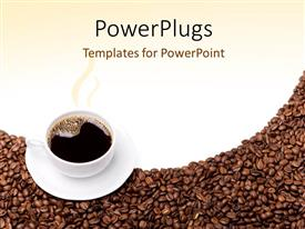 PowerPlugs: PowerPoint template with steaming cup of coffee and saucer on brown grains