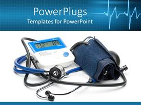 PowerPoint template displaying a stecthoscope and a blood pressue monitor in the background