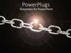PowerPlugs: PowerPoint template with a steel chain with blackish background