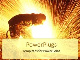 PowerPlugs: PowerPoint template with steel worker with mask cutting steel with steel cutting equipment