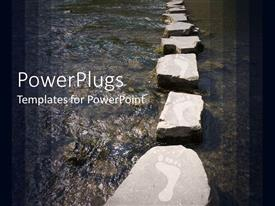 PowerPoint template displaying stepping stones with footprints over river background framed with gradient dark panels