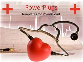 PowerPlugs: PowerPoint template with stethoscope around a red heart and pen lying on a cardiogram with heart beating line in the background