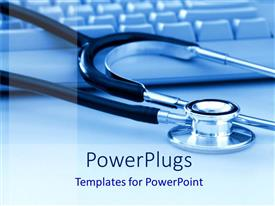 PowerPlugs: PowerPoint template with a stethoscope being placed over a keyboard with blue background