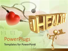 PowerPoint template displaying stethoscope examining red apple with man holding gold key to health