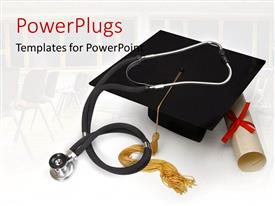 PowerPlugs: PowerPoint template with stethoscope on graduation cap and certificate over white background