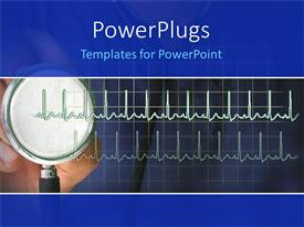 PowerPlugs: PowerPoint template with stethoscope with heart rhythm EKG, cardiology, medicine, medical, heart