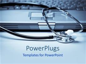 PowerPlugs: PowerPoint template with a stethoscope with a laptop in the background